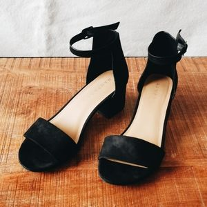 Black Vegan Suede Rampage Block Heel Sandals